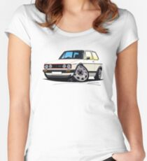 VW Golf (Mk1) GTi White Women's Fitted Scoop T-Shirt