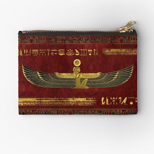 Adorno de dios egipcio dorado sobre cuero rojo Bolsos de mano