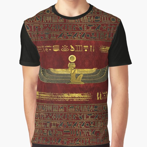 Golden Egyptian God Ornament on red leather Graphic T-Shirt