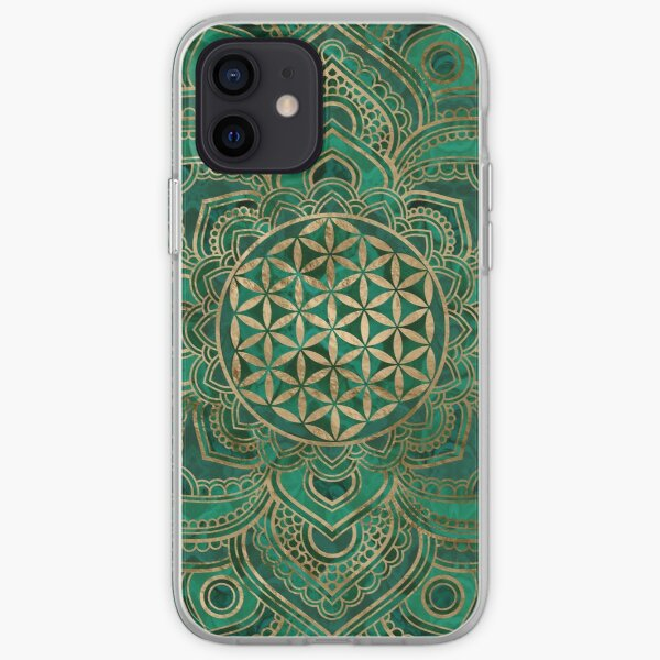 Flower of Life in Lotus - Malachite and gold iPhone Soft Case