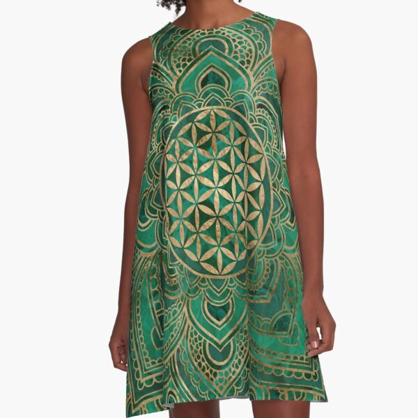 Flower of Life in Lotus - Malachite and gold A-Line Dress