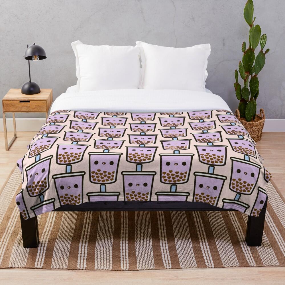 Cute Love Heart Bubble Tea Throw Blanket