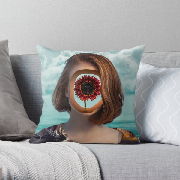 The girl with the flower in her head Throw Pillow