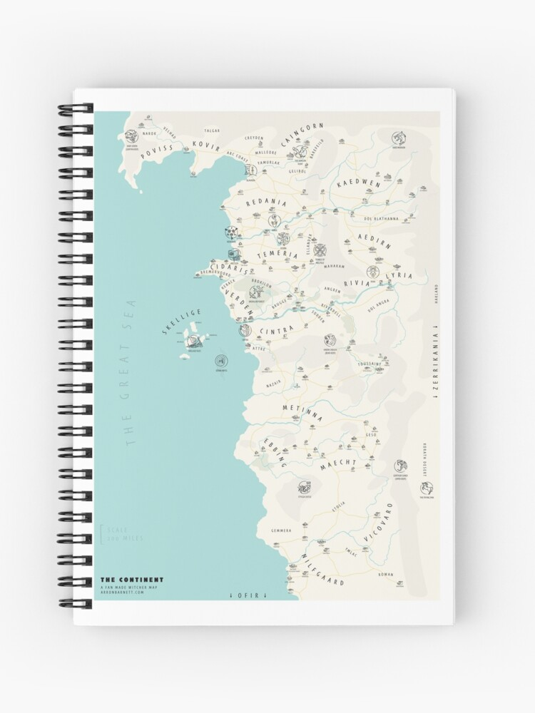 Illustrated Witcher World Map | Spiral Notebook
