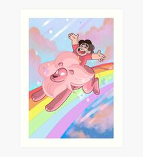 Steven and Lion over the rainbow Art Print