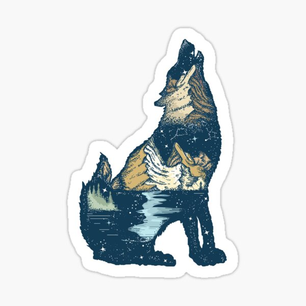 Wolf and mountains Sticker