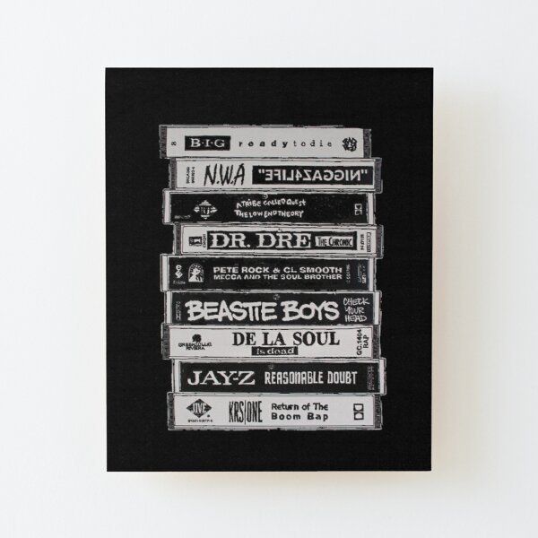 Hip Hop Tapes Wood Mounted Print