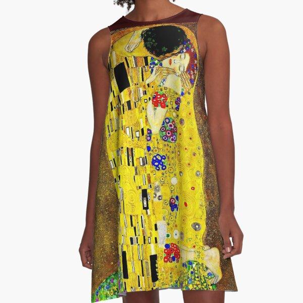 THE KISS 1917 : Gustav Klimt High Definition Print A-Line Dress