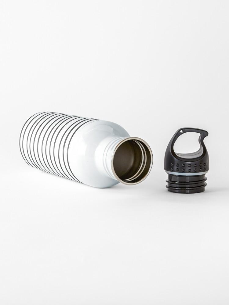 Alternate view of Modern simple trendy black white striped pattern Water Bottle