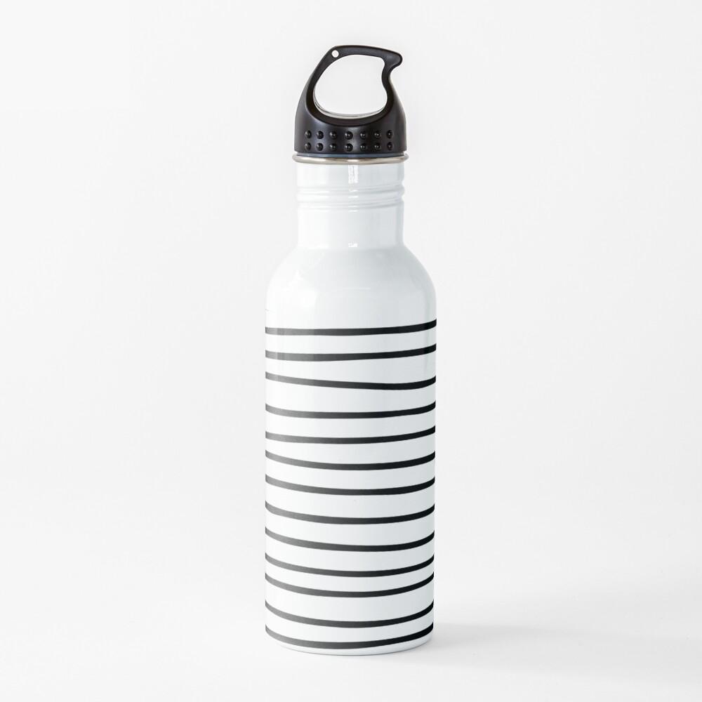 Modern simple trendy black white striped pattern Water Bottle