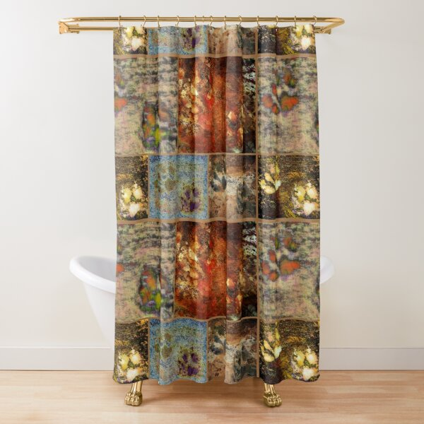 Brown Paw Print Collage Shower Curtain