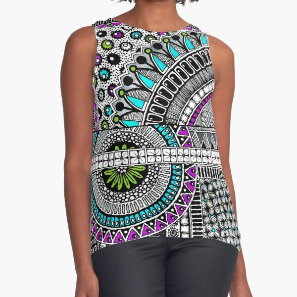 Urban Tribal, Purple, Aqua, Green, Sleeveless Top