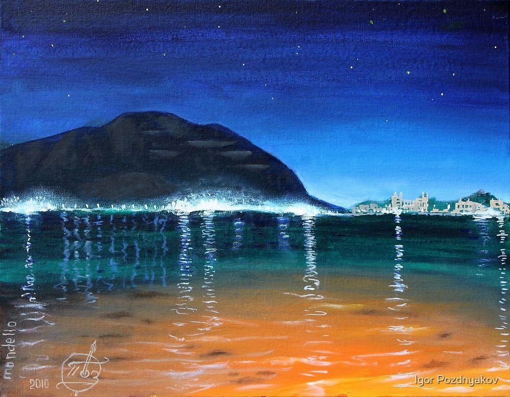 Oil Painting - Mondello Bay, Sicily. Landscape 2010 by Igor Pozdnyakov
