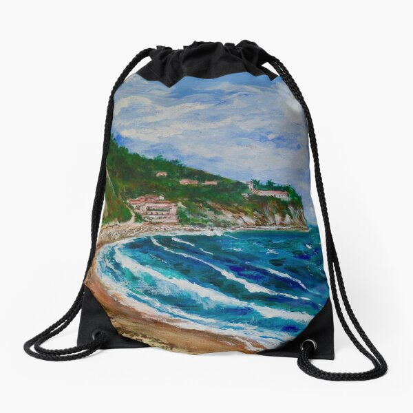Burnout Beach, Palos Verdes Pennisula Drawstring Bag