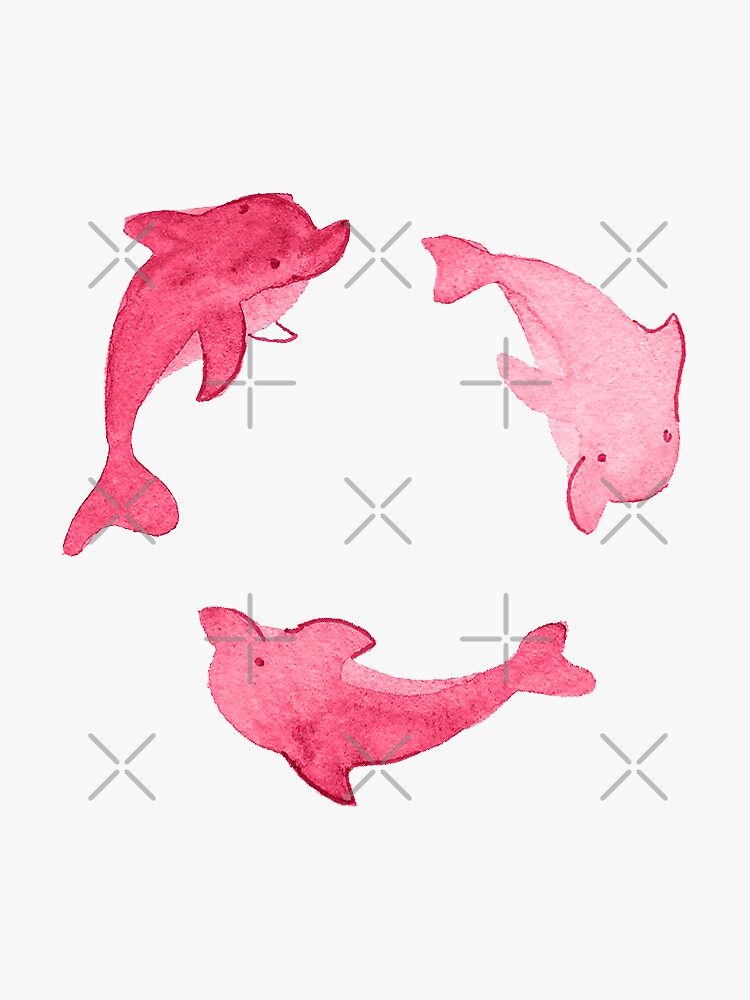 Pink Dolphin Stickers and Pattern by annieparsons