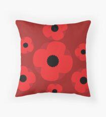 Poppy (Red) Throw Pillow