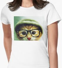 Vintage Cat Wearing Glasses Women's Fitted T-Shirt
