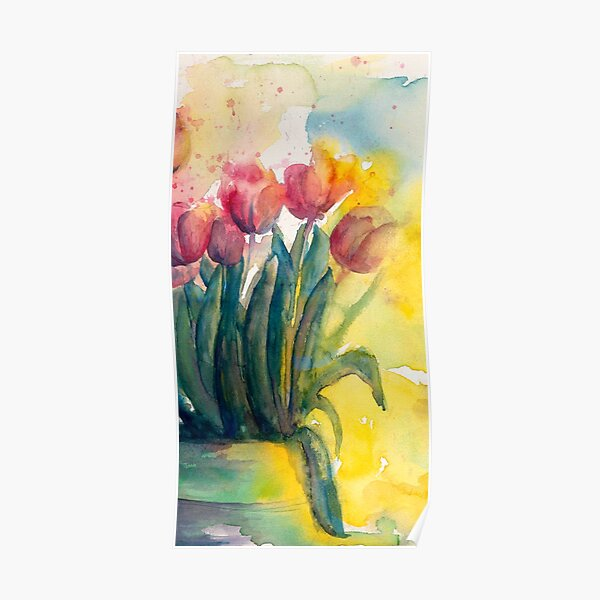 The Sunny Side of the Pot from Tulips by Candlelight Watercolor by CheyAnne Sexton Poster