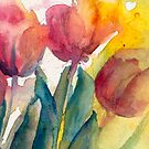 Even Closer of Tulips by Candlelight Watercolor by CheyAnne Sexton by CheyAnne Sexton
