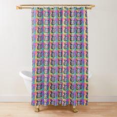 Cheerful Rainbow Moon Bear Shower Curtain