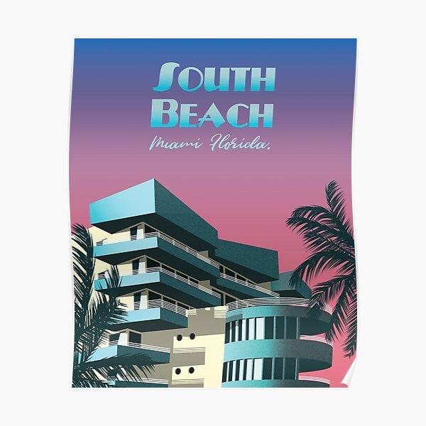South Beach, Miami - affiche de voyage rétro Poster