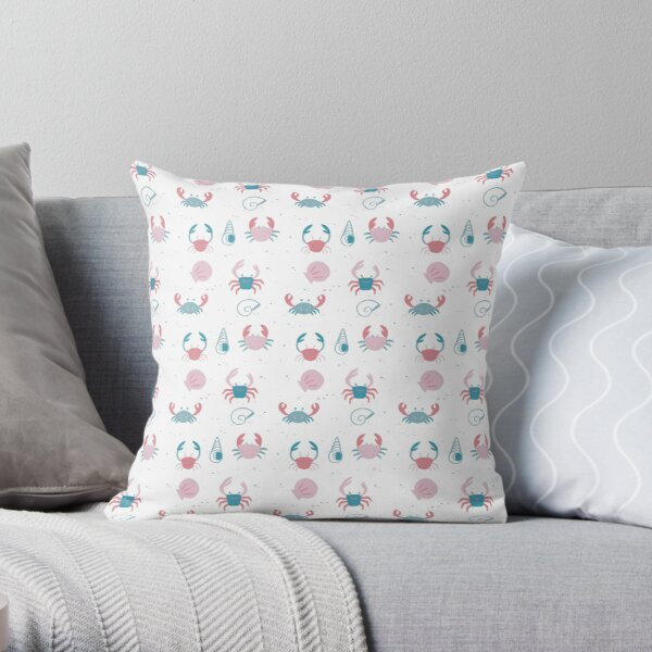 Infinite Pastel Beach of Shells and Crabs Throw Pillow