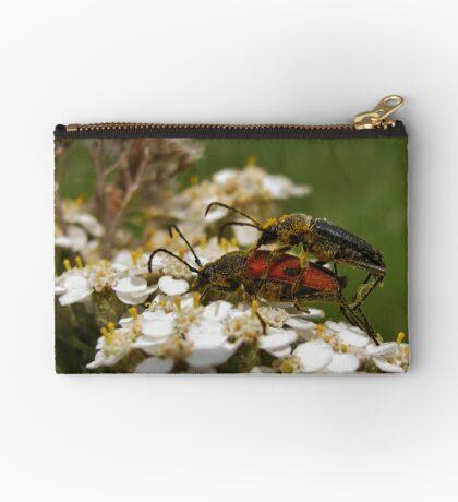 Longhorned beetles mating on Yarrow Zipper Pouch