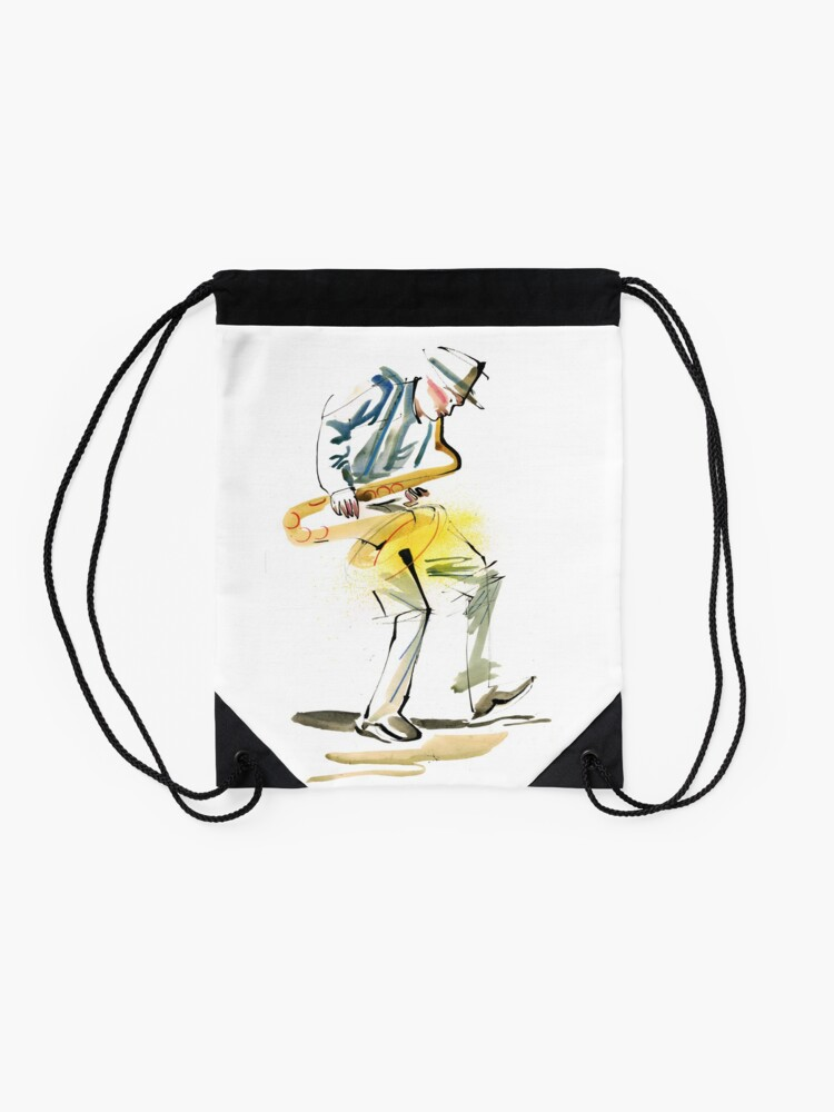 Alternate view of Saxophone Musician art Drawstring Bag