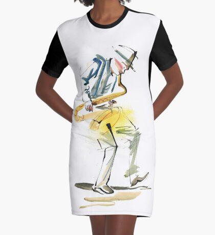 Saxophone Musician art Graphic T-Shirt Dress