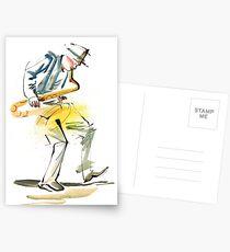 Saxophone Musician art Postcards