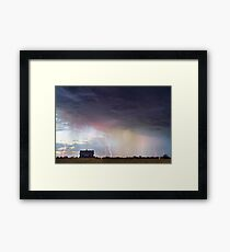 Positive Pink Lightning On the Prairie  Framed Print