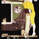 Paare, die Vintage französische Art- DecoAutomobilanzeige küssen von Glimmersmith