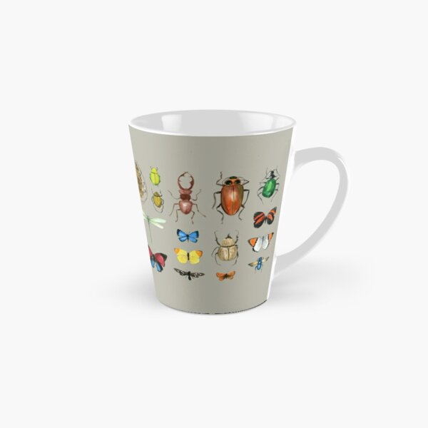 The Usual Suspects - Insects on grey - watercolour bugs pattern by Cecca Designs Tall Mug