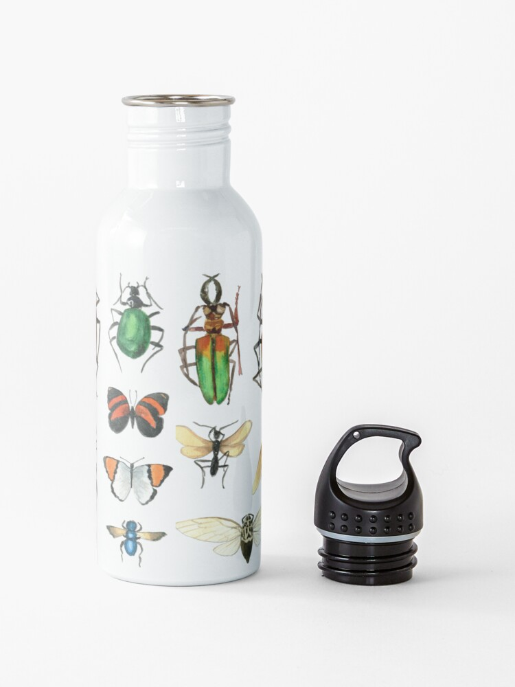 Alternate view of The Usual Suspects - Insects on grey - watercolour bugs pattern by Cecca Designs Water Bottle