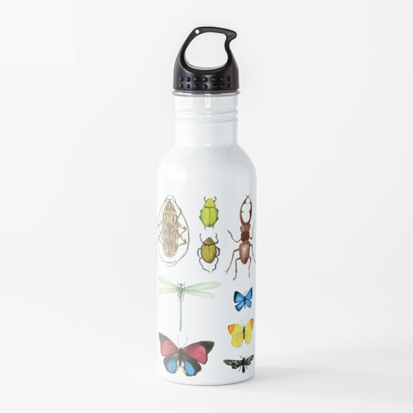 The Usual Suspects - Insects on grey - watercolour bugs pattern by Cecca Designs Water Bottle