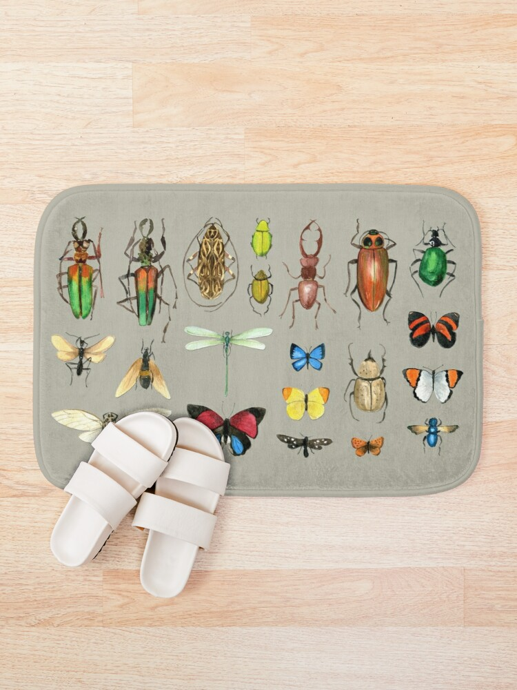 Alternate view of The Usual Suspects - Insects on grey - watercolour bugs pattern by Cecca Designs Bath Mat