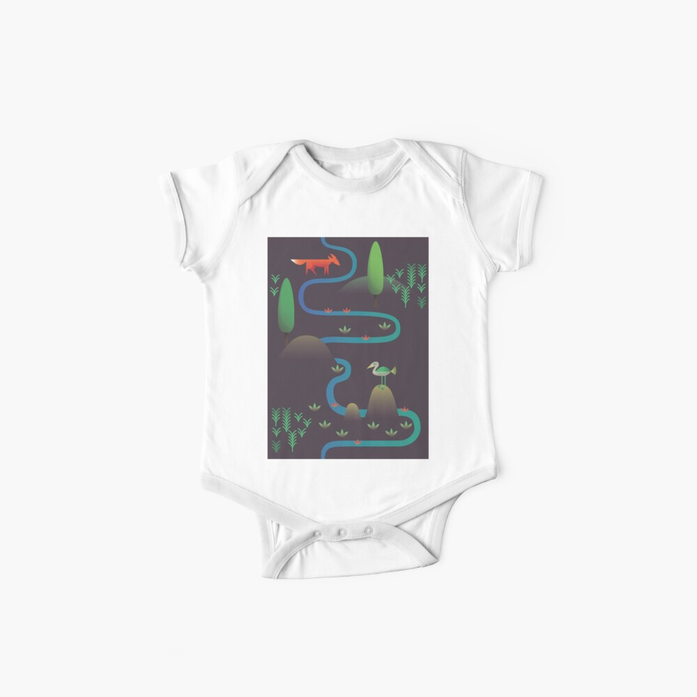 Landschaft - Fuchs und Bach 2 (Muster) Baby Body