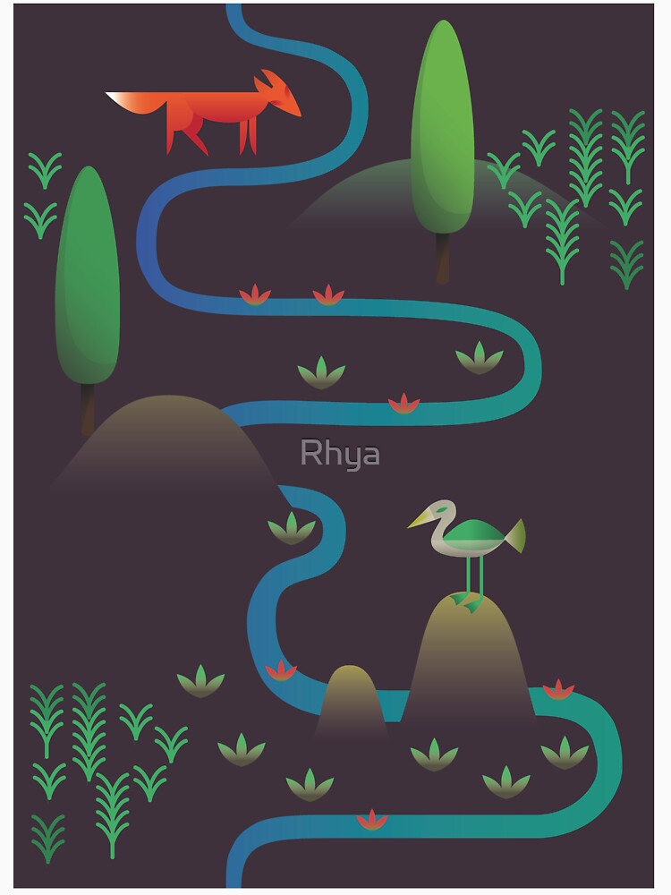 Landschaft - Fuchs und Bach 2 (Muster) von Rhya