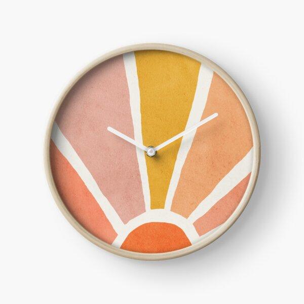 Sun, Abstract, Mid century modern kids wall art, Nursery room Clock