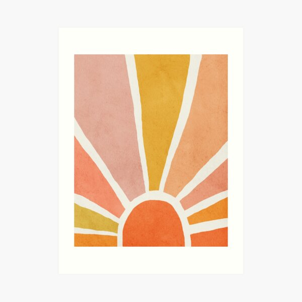Sun, Abstract, Mid century modern kids wall art, Nursery room Art Print