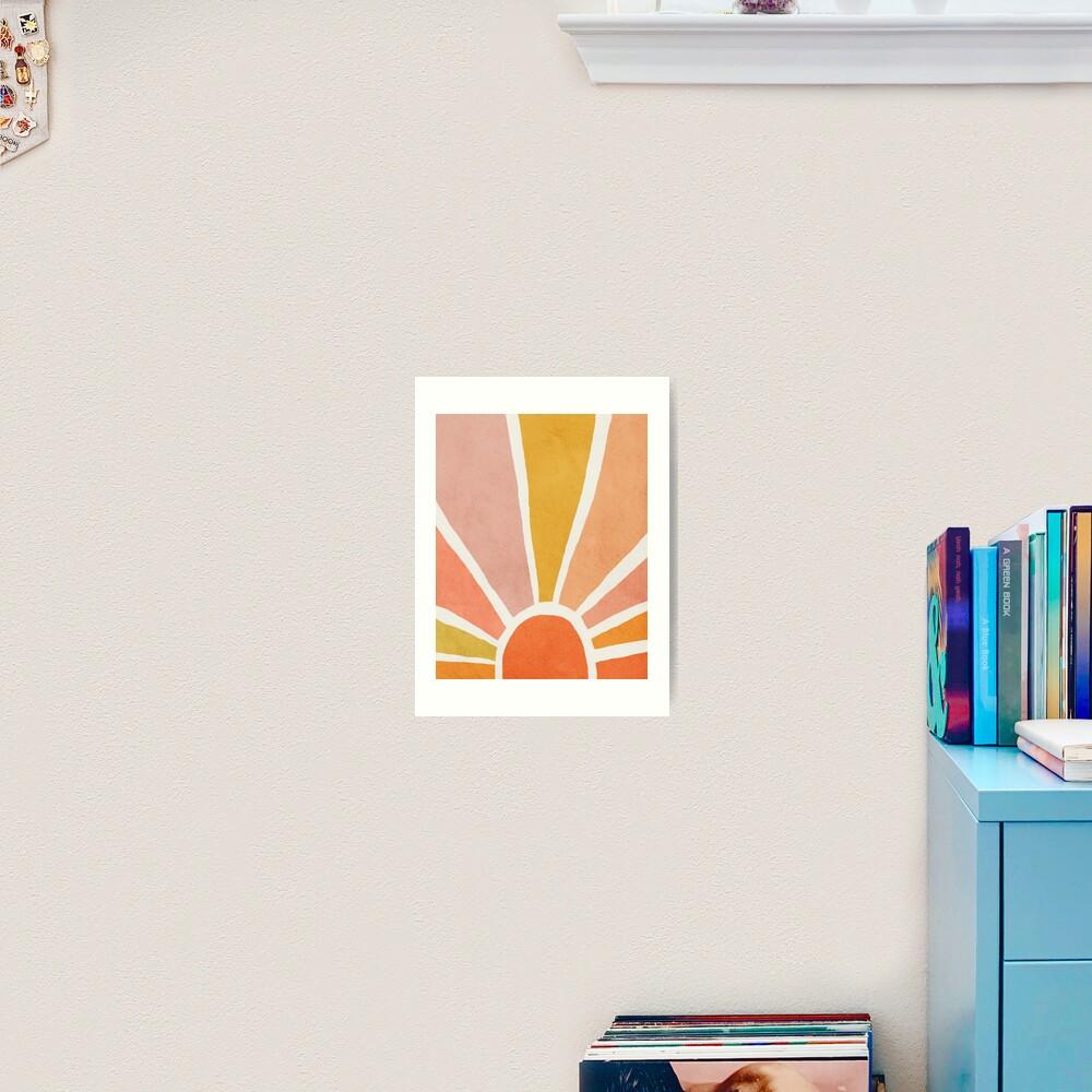 Sun, Abstract, Mid century modern kids wall art, Nursery room Art Print