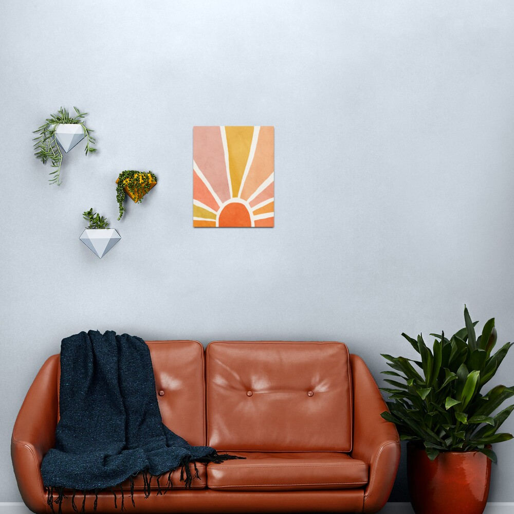 Sun, Abstract, Mid century modern kids wall art, Nursery room Metal Print