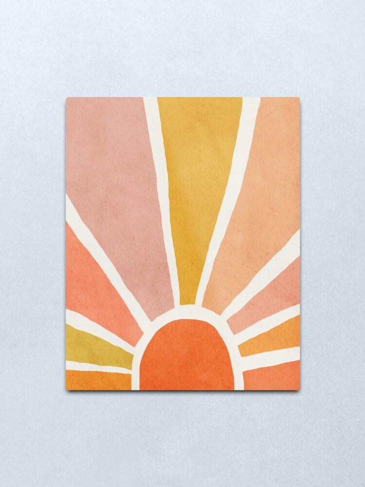 Alternate view of Sun, Abstract, Mid century modern kids wall art, Nursery room Metal Print
