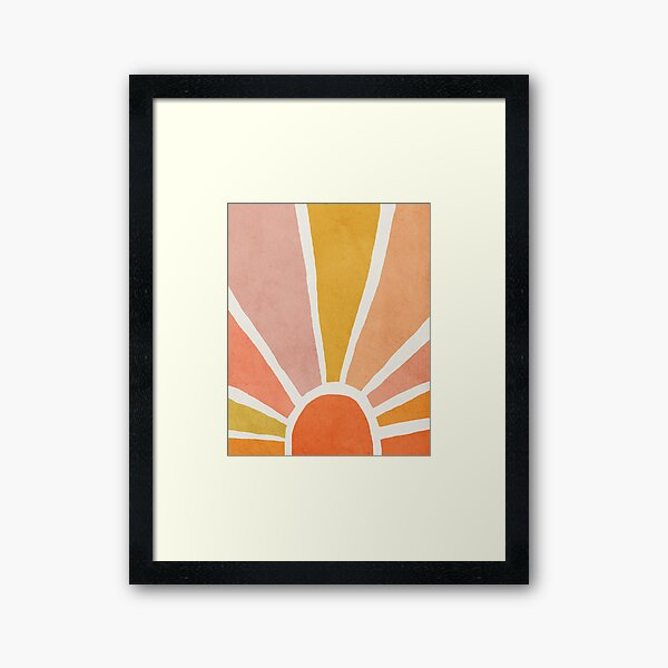 Sun, Abstract, Mid century modern kids wall art, Nursery room Framed Art Print