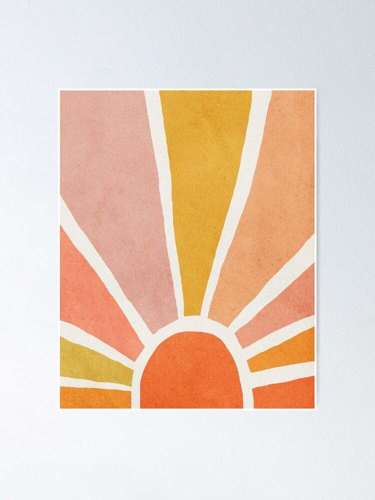 Alternate view of Sun, Abstract, Mid century modern kids wall art, Nursery room Poster