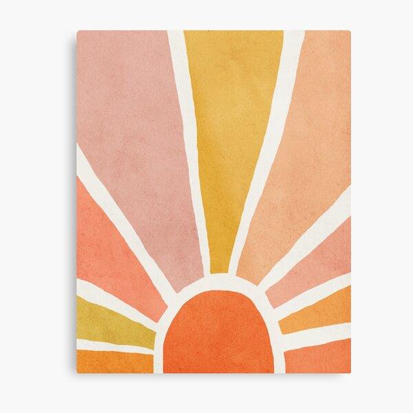Sun, Abstract, Mid century modern kids wall art, Nursery room Metal Print