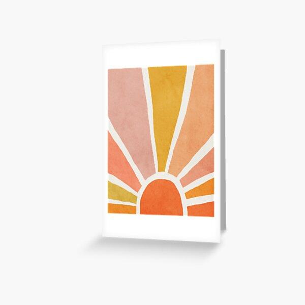 Sun, Abstract, Mid century modern kids wall art, Nursery room Greeting Card