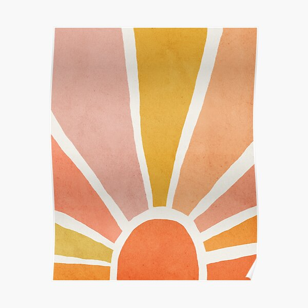 Sun, Abstract, Mid century modern kids wall art, Nursery room Poster