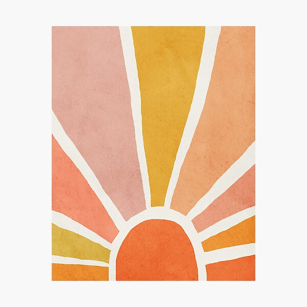Sun, Abstract, Mid century modern kids wall art, Nursery room Photographic Print