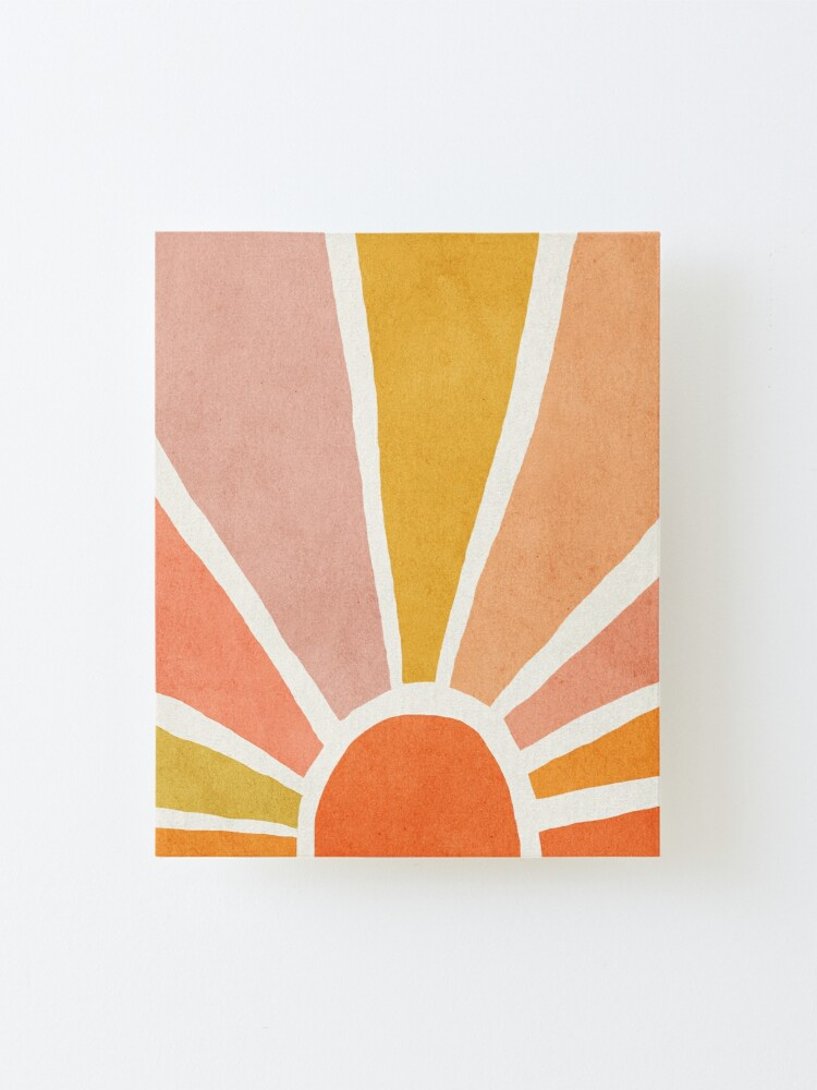 Alternate view of Sun, Abstract, Mid century modern kids wall art, Nursery room Mounted Print